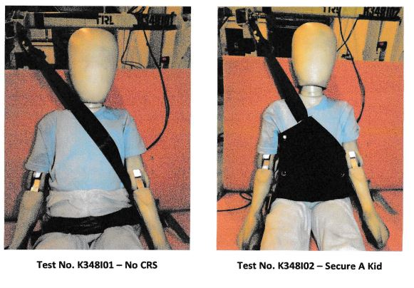 backless booster - secure a kid crash test